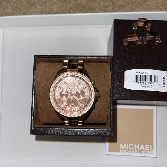 Michael Kors rose gold and brown tortoise watch